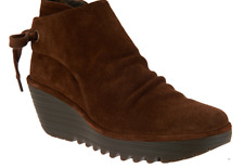 FLY London Suede Ruched Ankle Boots with Tie Detail Yebi Camel EU37 US 6 New
