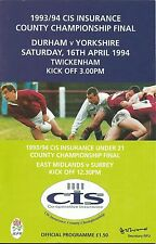 Condado de Durham V Yorkshire rugby union final programa Inc U21 final 16 de abril de 1994