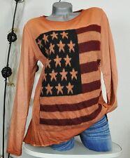 NEU LINDSAY VINTAGE SWEAT PULLI USA AMERIKA FLAG STARS & STRIPES ORANGE 38 40 42