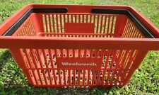 VINTAGE RED WOOLWORTH Dept. Store  PLASTIC HAND SHOPPING BASKET COLLECTIBLE