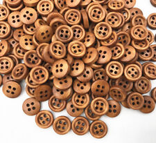 100X Wooden brown Buttons Sewing 4-holes Round Scrapbooking Crafts 12mm