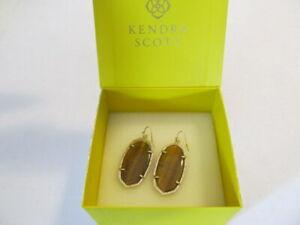 Vintage Kendra Scott Danielle Tiger Eyes Gold Pierced Dangle Earrings with Box