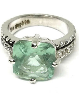 Lia Sophia Greek Isle Ring 3 Carat Cut Crystal Cubic Zirconia Size 9 Aquamarine
