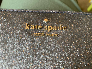 New Genuine Kate Spade New York Dark Blue Glitter Medium Purse