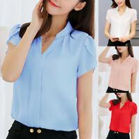 Women Summer Work Office V Neck Blouse Short Sleeve Chiffon Shirt Top Plus Size