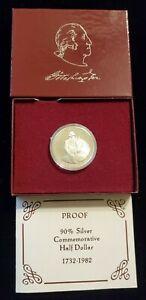 1982-S Proof George Washington Silver Half Dollar US Mint Coin, in Box w COA