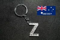 Letter Z Name Initial Personalised Bling Diamante Nickel Plated Metal Keyring