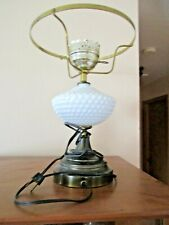 """Brass White Milk Glass electric Table dresser Lamp 13 1/2"""" tall no Top Globe wor"""
