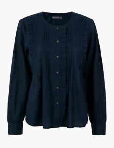 Ladies M&S Pin Tuck Blouse Navy Cotton RRP £25.00
