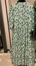 Zara Floral Print Dress Loose Flowing Midi 4786/070 Green Oyster White XXL 16 18