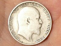 1908 Edward VII One Shilling Silver Coin   #MR24