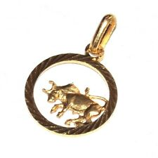 Pendentif médaille couleur or signe astral astrologique taureau bijou pendant