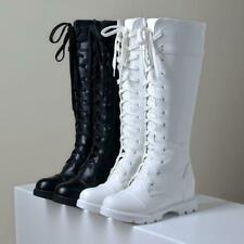 Winter Women's Lace Up round toe hidden Heel Riding combat Knee High Boots
