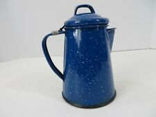 "Enamelware Coffee Tea Pot Black Speckle Hinged Lid Approx 6.5"" Tall  #7489"