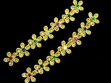 E081 Genuine 18K Gold Diamond & MULTI-GEM Earrings Emerald,Ruby,Sapphire Blossom