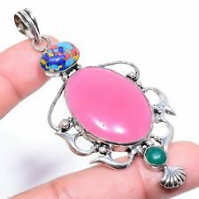"""Pink Jade, Green Onyx Ethnic 925 Sterling Silver Jewelry Pendant 1.65"""" 4303"""