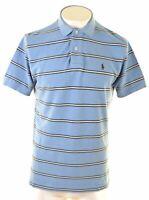 POLO RALPH LAUREN Mens Polo Shirt Medium Blue Striped Cotton  CG17