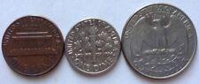 USA set coins - 3 pcs; 1 Cent (1977), I Dime (1981), Quarter Dollar (1997)