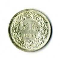 Moneda Suiza 1957 B 1/2 medio franco suizos plata .835 silver coin Helvetia