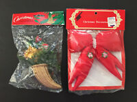 Vintage Christmas Santa & Red Bow Holiday Ornament In Package