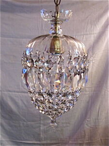 "LEAD CRYSTAL CHANDELIER Pendant,Basket/Bird Cage, 1920's vintage, 14"" tall,8""dia"