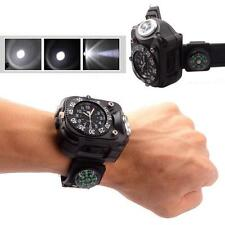 Unique Tactical Rechargeable LED Outdoor Sport Wrist Watch Flashlight Compass