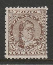 Cook Islands 1893-1900 Queen Victoria 1d Brown SG 5 Mint/ no gum.