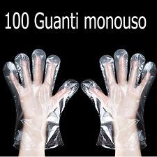 pacco da 100 Guanti monouso protettivi in plastica protettiva Alimentare