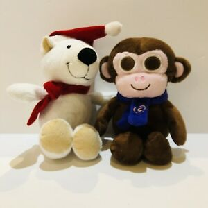 Cadbury Button Monkey & Kinder Polar Bear Christmas Winter Plush Soft Toys