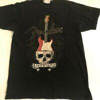 Fender black and red guitar skull vintage t-shirt s/m