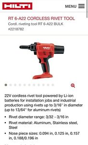 HILTI RT 6-A22 CORDLESS RIVET TOOL + 2 BATTERY + 1 CHARGER NEW IN BOX!