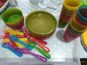 IKEA kalas Rainbow Picnic Plastic Plates Bowls Cups Spoon Fork
