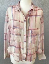Holding Horses Anthropologie SZ S Small Long Sleeve Pink Plaid Shirt Cropped