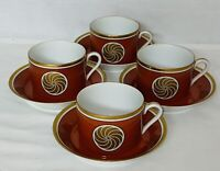 "4 Fitz & Floyd MEDAILLON D'OR *ORANGE & GOLD* 2 1/4"" CUPS & SAUCERS"