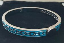 """HALCYON DAYS """"SKINNY CHAIN AQUA AND SILVER"""" BANGLE WITH BLACK VELVET POUCH. NEW"""