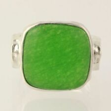 NEW Dyed Green Chalcedony Ring - 925 Sterling Silver Hammered Band Women's 7.25