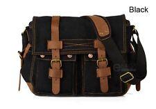 Vintage Canvas Leather Messenger Bag Satchel Cross body Military Shoulder Bag