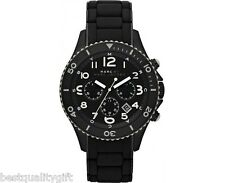 MARC JACOBS BLACK ROCK SILICONE WRAPPED BLACK IP STEEL CHRONO WATCH-MBM2583