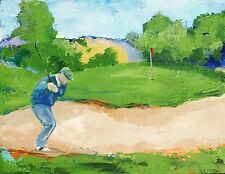 "Out of the Sand Golf Acrylic Painting by RAMfish Artist Original Signed 16""x20"""