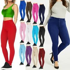 LADIES SKINNY JEANS STRETCHY JEGGINGS SLIM COLOURED TROUSERS HIGH WAISTED PANTS