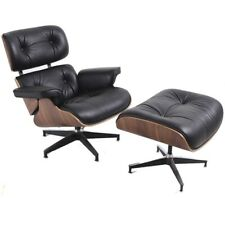 Retro Contemporary Leather Lounge Chair & Ottoman Stool Italian Leather