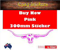 TODAY ONLY $3 -  300mm PINK Longhorn Car Ute Sticker RM Williams Country BNS
