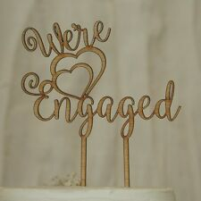 """""""We're Engaged"""" Cake Topper, Engagement Party, Bridal Shower wooden Rustic"""