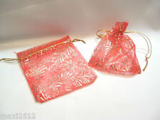 5 x Organza Drawstring Bags: BND10 Red/Gold