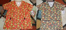 2 pc Christmas Mock Wrap & V neck Scrub Top Bottom Pockets Patch Leaves Sz Xs