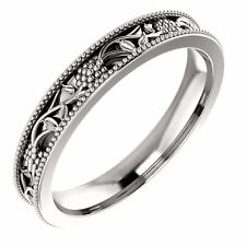 SIZE 6 - 14K White Gold Floral Inspired Wedding Band 3.5mm Wide Solid Gold Ring