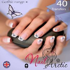 Gothic Butterflies Nail Water Transfers Decal Art Stickers x 40