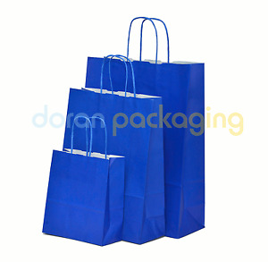 Blue Paper Bags Twist Handle Party and Gift Carrier / Paper Bags With Handles