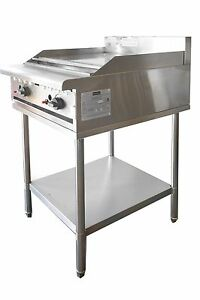 COMMERCIAL CATERWARE S/S  600 WIDE GAS HOTPLATE/GRIDDLE ON STAND (LPG OR NAT)