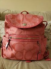 Coach Pink Coral Backpack Bag Signature Optic Kyra Textured